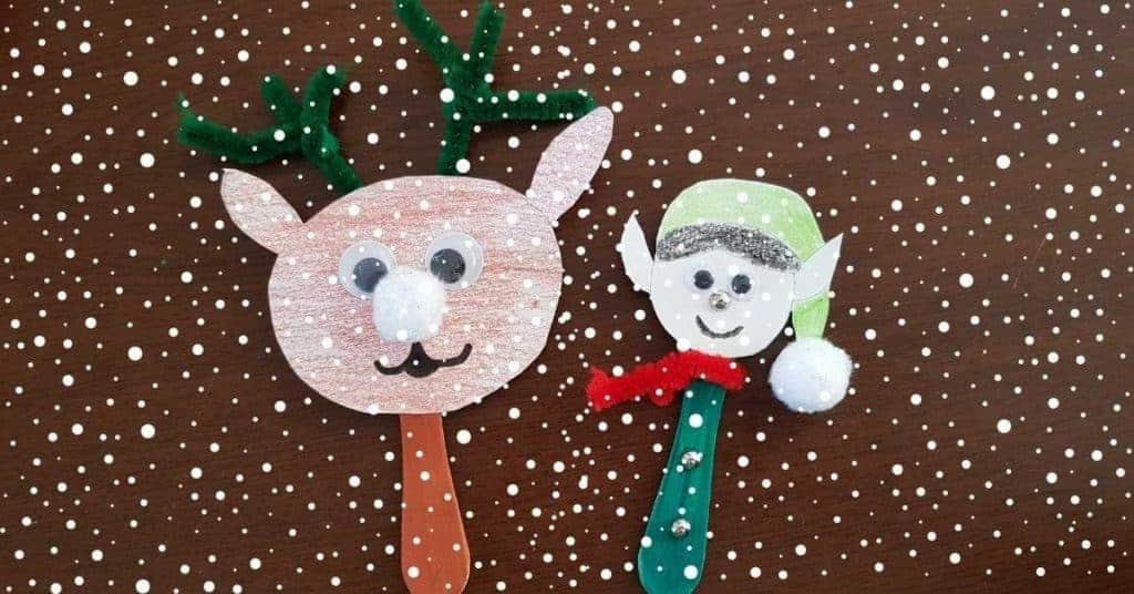 Popsicle sticks elf and reindeer puppets