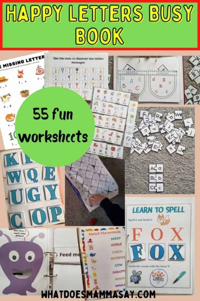 Happy Letters Busy Book worksheets