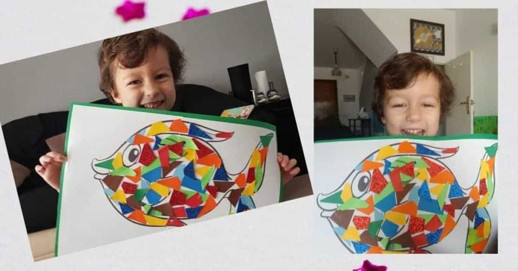 fish mosaic craft out of waste paper