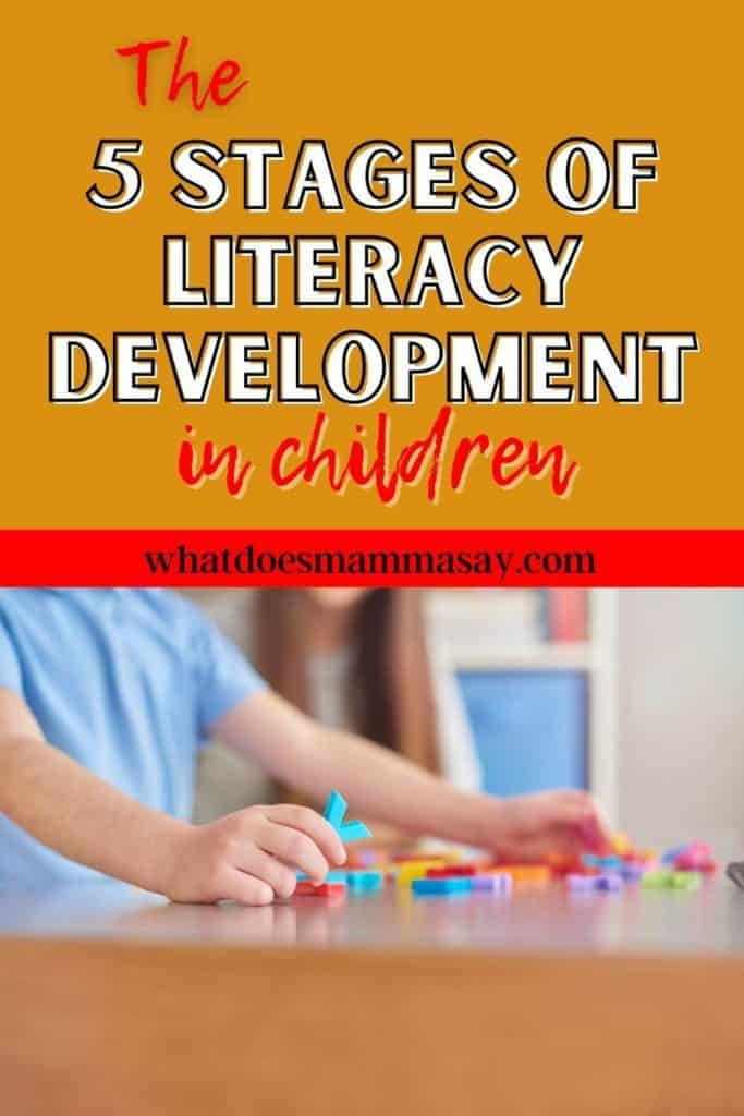 The 5 stages of literacy development in children pinnable image