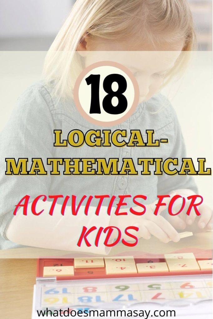 logical-mathematical activities for kids pinnable image